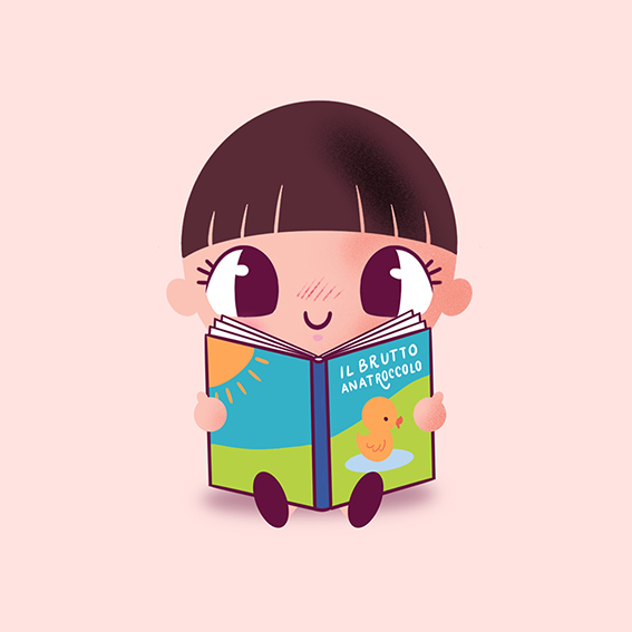 Illustrazione di una bambina che legge Il brutto anatroccolo