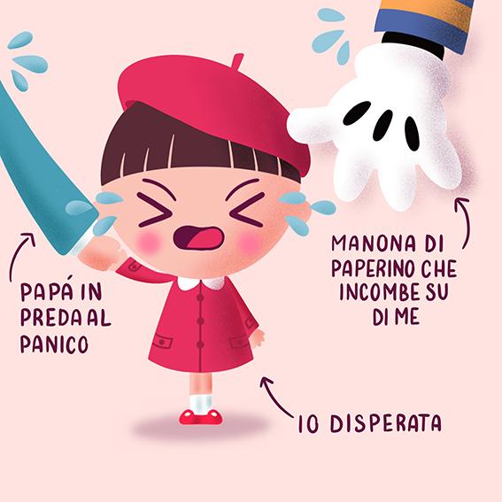 illustrazione di una bambina che ha paura della mano di un pupazzo di Paperino